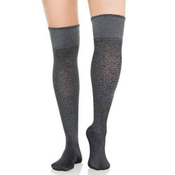 Spanx Get Over It Chic Look Scalloped Edge Over The Knee Socks 2297 Heather Grey Animal