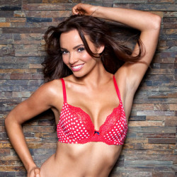 POUR MOI Tease Soft Cup Plunge Underwired Red Spotty Bra  32 34 36 28 40 D to G