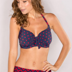 Pour Moi Key West Underwired Halterneck Bikini Top Navy/Red Sizes 32-38 D-G 7202