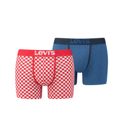 Levis Mens 200SF Checkerboard Boxer Shorts 2 Pack Chinese Red