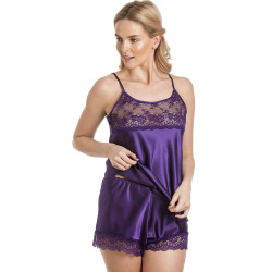 Lady Olga Toray Satin Camisole Top and French Knickers Set CTF58 Purple