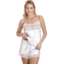 Lady Olga Toray Satin Camisole Top and French Knickers Set CTF58 White