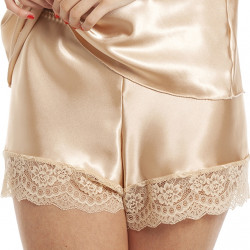 Lady Olga Satin Lace French Knickers F58 Gold