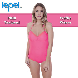 Lepel Plain Textured Waffle Halterneck or Strapless Side Support Swimsuit