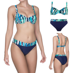 Naturana Bikini Set Underwired Soft Cup Top & Fold Over Brief 72426 Navy/Green
