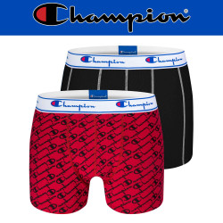 Champion Legacy Print Boxer Short Briefs Y081W Mens Red/Black