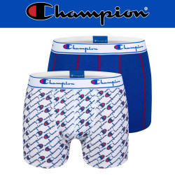 Champion Legacy Print Boxer Short Briefs Y081W Mens White/Blue