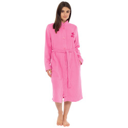 Lady Olga Fleece Button Embroidered Dressing Gown Pink