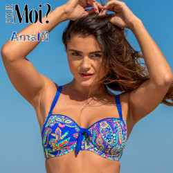 Pour Moi Amalfi Padded Sweetheart Underwired Bikini Top 75000 Floral Blue 32 to 38 B to G
