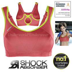 Shock Absorber Active Multi Sports Maximum Support Sports Bra Red Lime 32 to 40