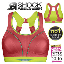 Shock Absorber Ultimate Run Sports Bra Red Lime S5044 32 to 38 A to G