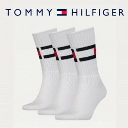 Tommy Hilfiger 3 Pack Flag Ribbed Crew Stretch Cotton Socks White