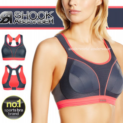 Shock Absorber Ultimate Run Grey / Coral Sports Bra New Sizes 32-38 A-F