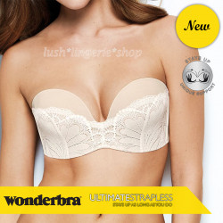 Wonderbra Ultimate Strapless Refined Glamour Ivory Lace Bra 32 to 38 A to G