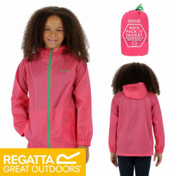 Regatta Kids Pack It Jacket III Waterproof Lightweight Packaway Hot Pink